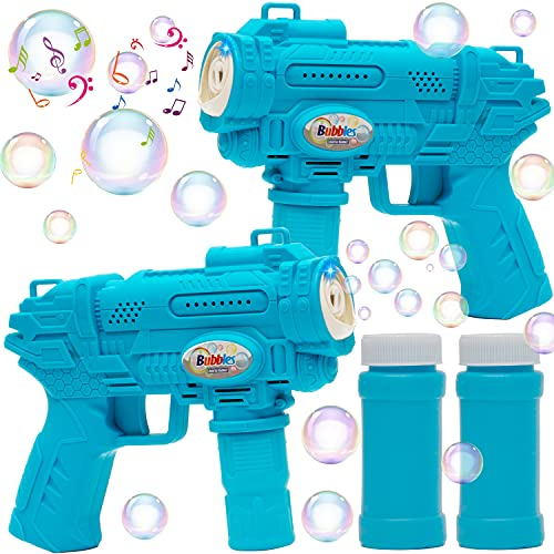 JOYIN 2 Bubble Guns with Light & Music, Bubble Blasters with 2 Bubble Solutions (50ml) for Kids Indoor & Outdoor Party Supplies, Summer Toy, Party,Wedding