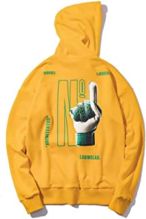 Sweatshirt Spring and Autumn Men's Loose Hoodie, Couple Casual Letter Print Sweatshirt with Kangaroo Pocket (Color : Yellow, Size : L)