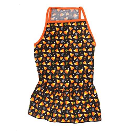 Sourcingmap Zomer Driehoek Print Hond Spaghetti Top Jurk Rok, X-Large, Zwart/Oranje