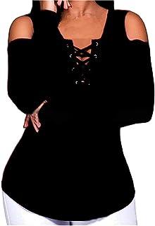 FRPE Women Slim Long Sleeve Cold Shoulder Fashion Solid Color Blouse T-Shirt Top