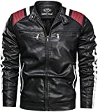 Leather Retail ® Men's Faux Leather Stand Collar Biker Jacket (Black; L )