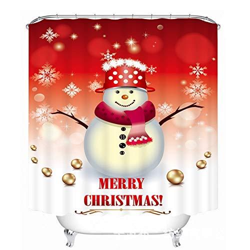 llk Gordijn Polyester Polyester EDD rood hoed sneeuwpop achtergrond douche creatieve druk naar kop douche-douche-gordijn 180*180