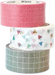 [3-Pack] New Signature Collection Designer Washi Tape: Perfect Multi Purpose Colored Masking Tape for Walls, Arts and Crafts, DIY, Scrapbook - 7mm x 5m (Homecoming)