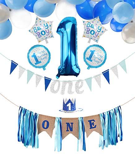 PIXHOTUL Baby Boy 1er Cumpleaños Decoraciones de Fiesta, Banner de Trona con Corona, Bandera de un Cumpleaños, Globos Número 1, Globos de 44 Piezas para Niño el Primer Cumpleaños