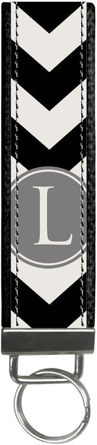 Black Chevron Design Monogram Wristlet Keyfob Keychain, Letter H