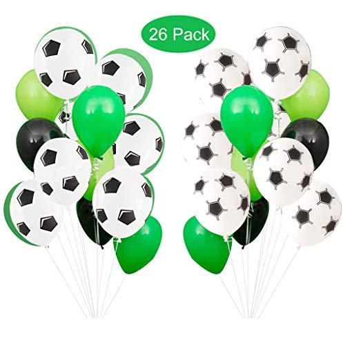 Baipin Globos de Fiesta de fútbol, 12 Pulgadas Globos De Látex Verde Blanco para Decoraciones de Fiesta de cumpleaños Niños, Fiesta temática Deportiva