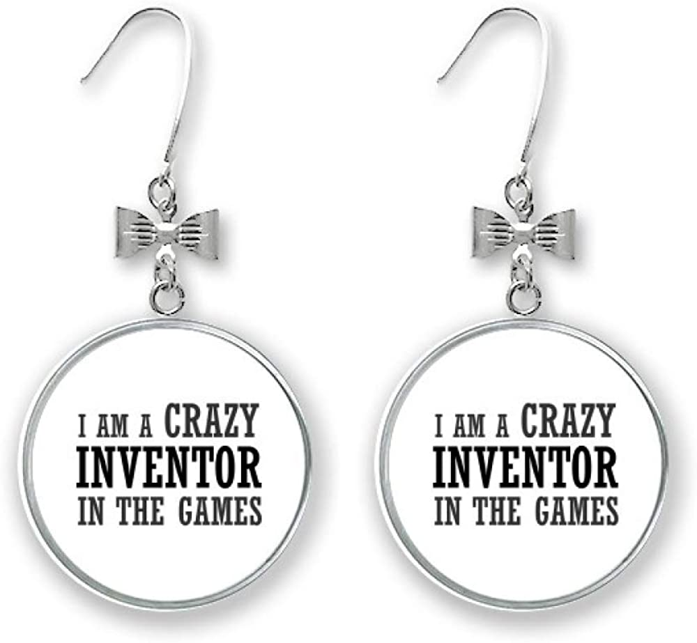 I Am Crazy In The Games Art Fashion Deco Gift Drop Spring new Max 87% OFF work one after another Earrings Bow