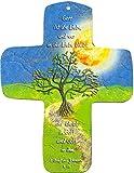 metalum Premium-Kreuz aus Metall'Gott ist die Liebe' zum Aufhängen - ein besonderes Geschenk für Christen aufwändig und liebevoll illustriert