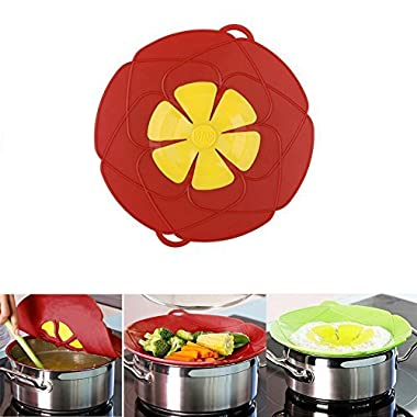 Spill Stopper Lid Cover ,Boil Over Safeguard,Silicone Spill Stopper Pot Pan Lid Multi-Function Cooking Tool ,Great Kitchen Gadgets,Great Christmas Gift for Cooking lover,Parents,Friends1Pcs(Green/ Red