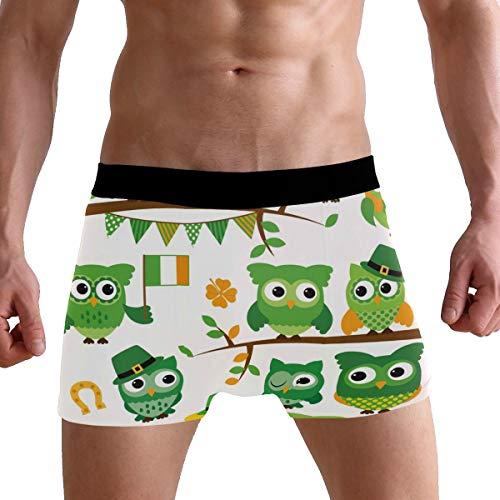 PUXUQU Herren Boxershorts St. Patrick's Day Eule Unterhosen Männer Herrenunterwäsche Unterwäsche