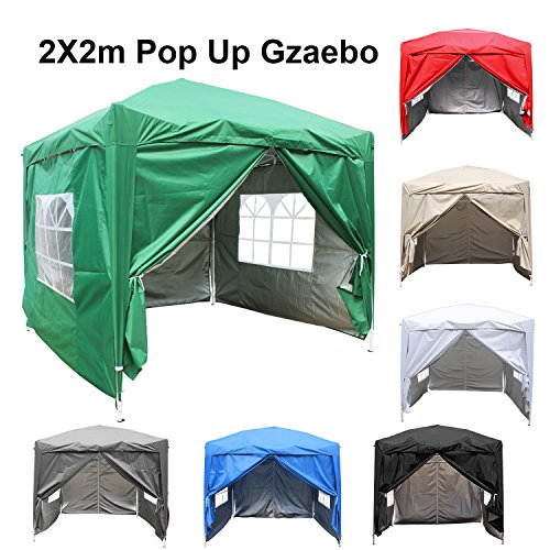 Greenbay 2M x 2M Foldable Pop up Gazebo Sun Protection Event Outdoor Tent With Four Side Panels (Two with Windows) - Green
