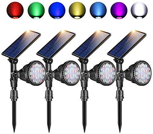 Solar Lights Outdoor, 18 Colored LED Wireless Solar Landscape Lights with 7 Adjustable Colors, IP65 Waterproof, Solar Powered Outdoor Spot Lights for Garden Yard Pathway Walkway Patio & Lawn - 4 Pack