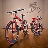 26 Inch Folding Mountain Bike for Men, Soloven Mens Mountain Bike Adult Bike & High-Carbon Steel MTB Bicycle Road Bike w/ 21 Speed Dual Disc Brakes Non-Slip (Black1)
