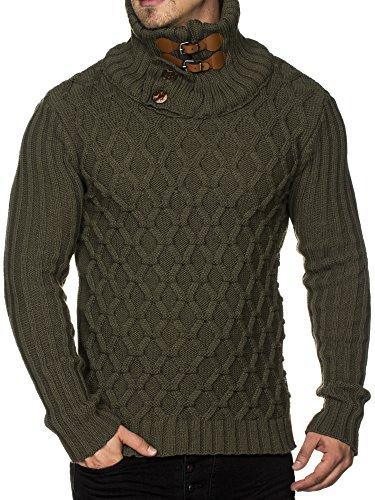 Tazzio 16489 - Maglione da uomo a maglia grossa, con elegante colletto rialzato cachi L