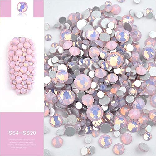 Gouen 1 Pack Mix Opal Crystal Nail Art Rhinestones 3D Charm Glass Non Jewelry Sticker Decorations for Nails,Pink