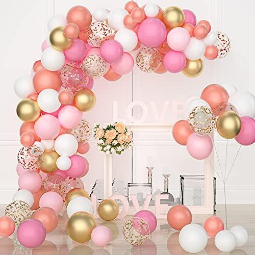 VAINECHAY Ballon Arche Kit Decoration Anniversaire Rose Gold Blanc Guirlande Ballons pour Fille Baby Mariage Bapteme Shower Fete Décoration Aniversaire