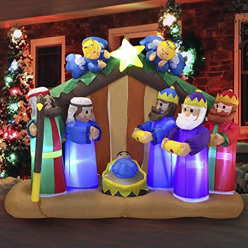 Joiedomi 6 FT Long Christmas Inflatable Nativity Scene Inflatablewith Angels with Build-in LEDs Blow Up Inflatables for Christmas Party Indoor, Outdoor, Yard, Garden, Lawn Décor