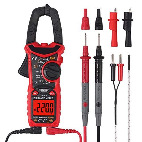 Proster Clamp Meter HT206B Stromzange TRMS 600A AC Strom 6000 Counts Anto Range CAT. Ill 600V Zangenmultimeter AC/DC Spannung NCV Durchgangskapazität Widerstand Frequenz Diode Hz Temperatur Test