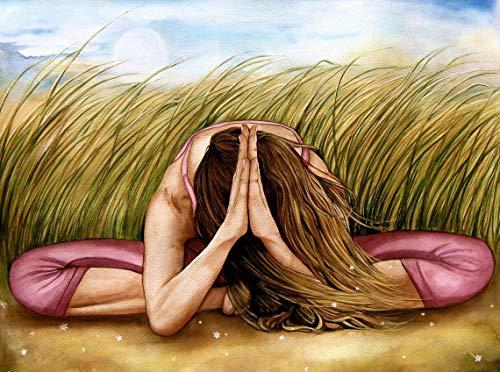 mlpnko DIY Pintar por números Yoga DIY Pintura al óleo para Principiantes, Pintura por Números para Adultos con Pinceles y Acrílica