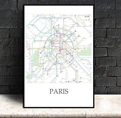 Osaka Tokio Nueva York París Metro Mapa Carteles Impresiones Lienzo Póster Arte De La Pared Y Arte Lienzo Pintura Impresiones Imagen De La Pared Para La Decoración Del Hogar 50X70Cm Sin Marco