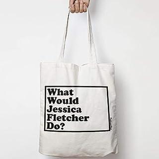 WHAT WOULD JESSICA FLETCHER DO? WWYD tote bag in tela di cotone naturale NEI COLORI NATURALE O NERO MURDER SHE WROTE