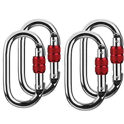 Mu Mianhua 25KN Kletterkarabiner Hart Stahl Silber Verschlusskarabiner Clip O Form Klettern Karabinerhaken mit Schraubverschluss 4 Sets