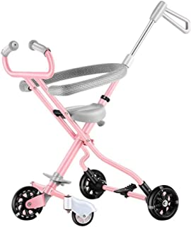 WDOPZMS Baby Stroller for Children - Portable Baby Stroller 5 Wheel with Brake Foldable Kids Single Hand Pushchair Adjustable Jogger Travel System for Outdoor (Color : Pink)