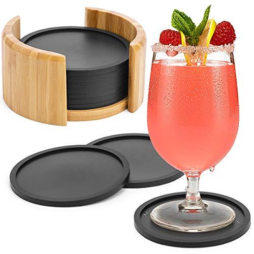 Aimego Silikon Untersetzer für Gläser - 10er Set Pack Getränkeuntersetzer für Tisch und Bar Glasuntersetzer in schwarz für Getränk