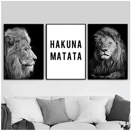 hdbklhjxk Leinwand Malerei Wandkunst Poster Und Drucke Wand Schwarz Weiß Löwe Hakuna Matata Bilder Für Wohnzimmer Wohnkultur 40x60 cm x 3 Kein Rahmen