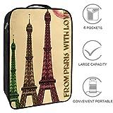 Bennigiry Paris Torre Eiffel Bolsa de zapatos de viaje, organizador de almacenamiento portátil para zapatos de golf y fin de semana para mujeres y hombres