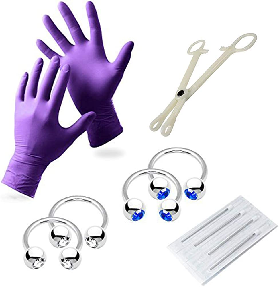 10-Piece 12 Gauge Piercing Kit - Including Gloves, Needles, Tool and 316L Surgical Steel Jewelry
