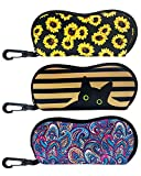 [Upgraded Size] Heyah 3 Pack Sunglasses Soft Case for Women, Ultra Lightweight Neoprene Sunflower Glasses Case Pouch, Cool Portable Zipper Eyeglass Case with Belt Clip