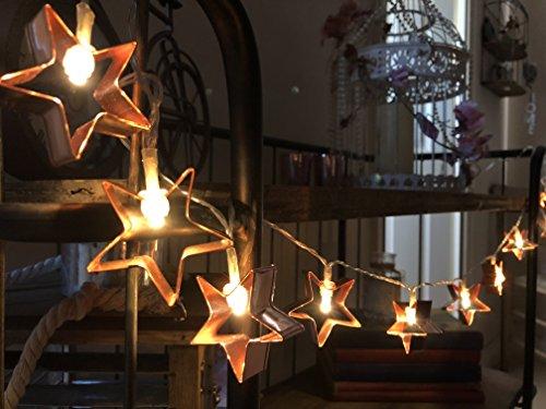 Homes on Trend 10LED Rame Metallo a Forma di Stella, luci di Natale Matrimonio Decorazione