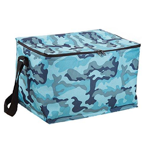ZAMAC oxford Chiffon Isolation Sac à glace Grande capacité Portable Sac de glace en feuille d'aluminium Isolation Sac Camouflage Sac de pique-nique, bleu
