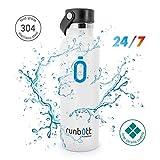 Runbott Botella Agua Acero Inoxidable sin BPA con Recubrimiento OInterno Ceramico 600 ml Doble Capa con Vacio. Sin Sabor Metalico (Blanco)
