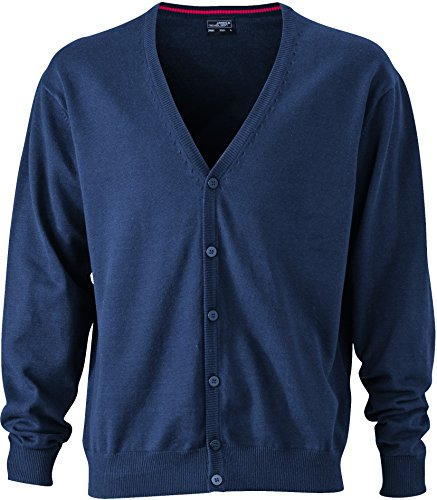 James & Nicholson Herren V-Neck Cardigan Strickjacke, Blau (Navy), X-Large