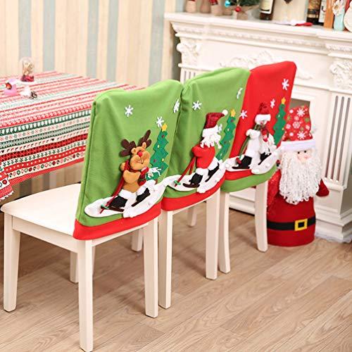 LIOOBO 1Pz Cubierta de Silla de Navidad Decoración Fundas Decorativas para Sillas de Comedor Dibujos Animados Alces Protectores de Silla de Tela Fundas de Asiento 50 * 60 cm