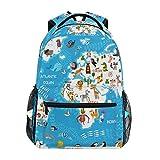 Ahomy mochila escolar para adolescentes y niñas, con diseño de mapamundi de...