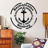 Wandtattoo Heimathafen mit Ihrer WUNSCHSTADT Wandaufkleber Wohnzimmer / 01 weiß / 55 cm hoch x 55 cm breit