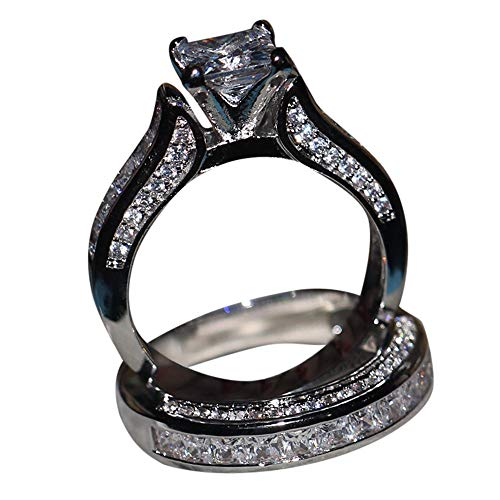 Goddesslili 2-in-1 White Diamond Silver Rings for Women Girlfriend Vintage Designed Large Wedding Engagement Anniversary Simple Jewelry Gift Under 5 Dollars (9)