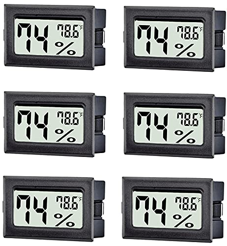 TASOGEN 6 Pack Mini Digital Thermometer Hygrometer,Indoor Temperature and Humidity Gauge Meter Monitor Fahrenheit (℉) for Humidor,Greenhouse,Reptile Tank,Home,Jars