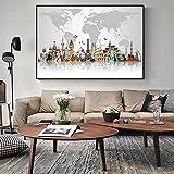 Mapa de atracción turística mundial Carteles e impresiones de edificios famosos Pintura en lienzo Imagen de arte de pared para la decoración del hogar de la sala de estar   60x80cm Sin marco