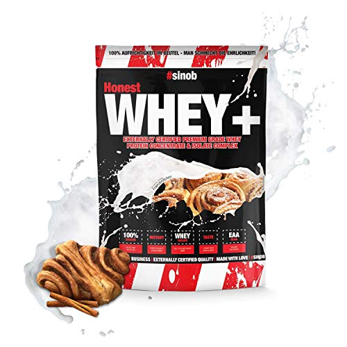 sinob Honest Whey Protein - Franzbrötchen - 1 x 1000 g. 12,5% Isolate Anteil. Instant lösliches Eiweißpulver mit BCAA & EAA 'Hergestellt in Deutschland'