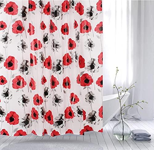 PaVita - Duschvorhang, Anti-Schimmel, Wasserdichter 180x200cm; 100prozent PEVA, Weiß/Halbtransparent/Rote Blumen, inklusive 12 Duschvorhang-Ringen
