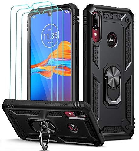 ivoler Funda para Motorola Moto E6 Plus con [Cristal Vidrio Templado Protector de Pantalla *3], Anti-Choque Carcasa con Anillo iman Soporte, Hard Silicona TPU Caso - Negro