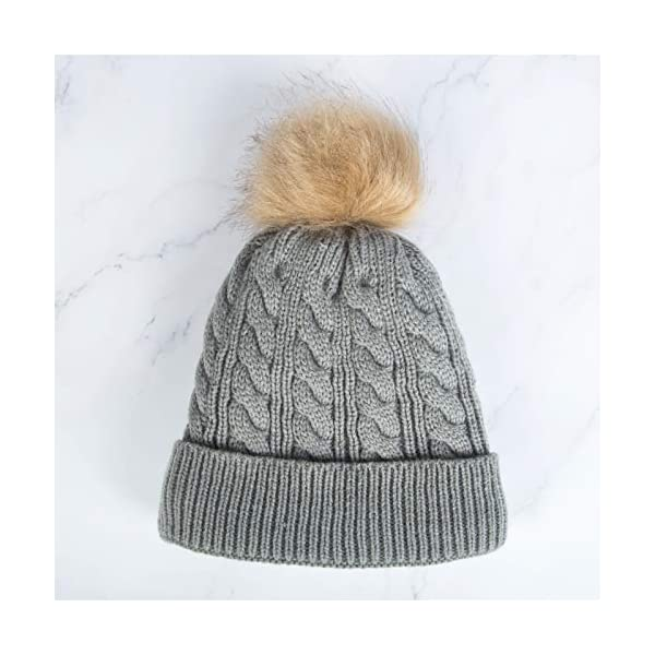 Chalier Kids Toddler Baby Winter Hats Warm Fleece Lined Pompom Hats Knit Thick Baby Beanies for Boys Girls