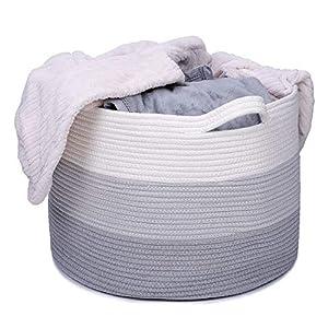 Woven Storage Basket XXLarge Cotton Rope Storage Basket 20″x13″ Blanket Basket Baby Woven Basket Woven Laundry Basket Nursery Hamper Toy Storage Basket – 3-Toned Grey