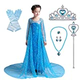 Gorgeous full-lined floor Length Princess costume. The dress is featured eye catching shimmering sequins allover the whole dress. Classical round neck and long sleeves style with glittering sequins all over it. A long train starting from back adorned...