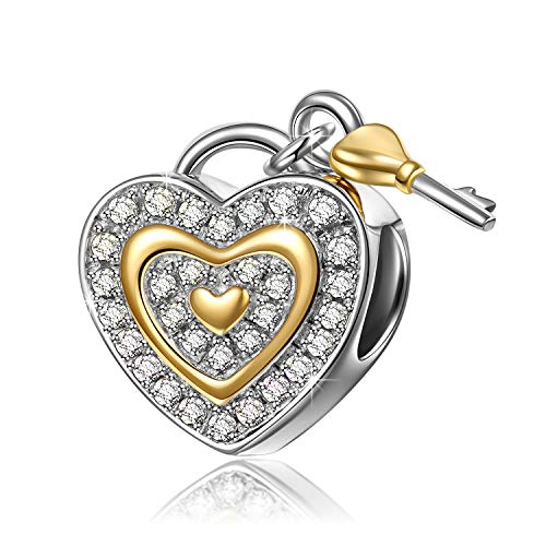 NinaQueen 925 Sterling Silver Fit Pandora Charms Lock Key Dangle Heart Shape Beads Birthday Anniversary Valentines Gifts for Women Wife Daughter in law Sister Mom Mommy Gift for her …