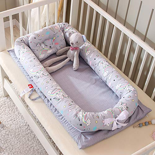 Baby Lounger Nest Bassinet for Bed, Portable Baby Co-Sleeping Cribs & Cradles for Bedroom and Travel, 100% Soft Cotton Baby Bed (Unicorn)